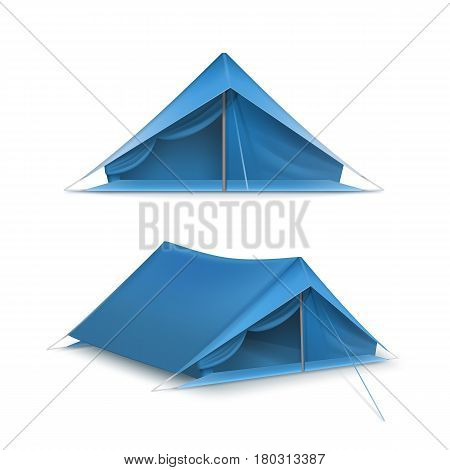 Vector set of blue tourist tents for travel and camping isolated on white background