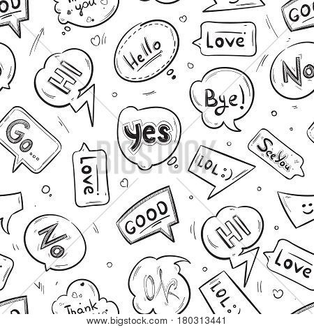 Speech bubbles with internet chat words hand drawn vector seamless pattern. Bubble chat message communication illustration