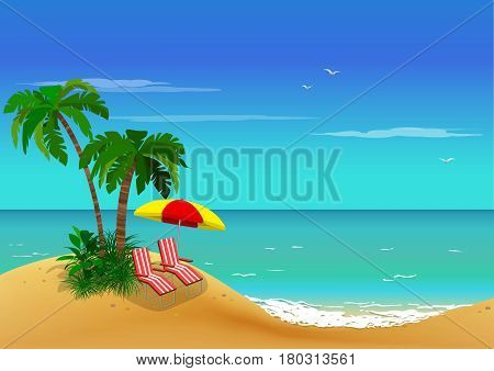 Sea view. Palm trees and sun loungers on sand coast. Vector background