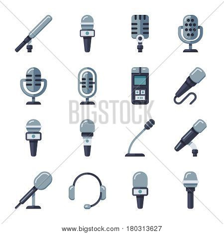 Microphone, dictaphone, interview digital recorder flat vector icons. Set of equipment for sound recording illustration