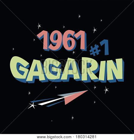Logo Text Gagarin First Astronaut Ussr Space