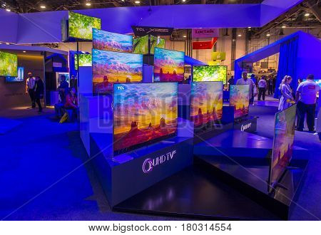 LAS VEGAS - JAN 08 : The TCL booth at the CES show held in Las Vegas on January 08 2017 CES is the world's leading consumer-electronics show.