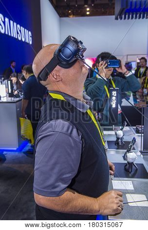 LAS VEGAS - JAN 08 : Virtual reality demonstration at The Samsung booth at the CES show held in Las Vegas on January 08 2017 CES is the world's leading consumer-electronics show.