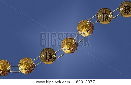 Set of gold bitcoins linked by chain on blue background to illustrate concept of blockchain for supply chain management