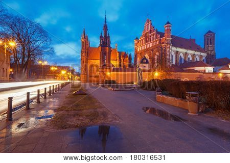 Saint Anne church during evening blue hour in Old town of Vilnius, Lithuania, Baltic states.
