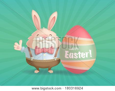 Happy Easter greeting card with a hare and an egg.