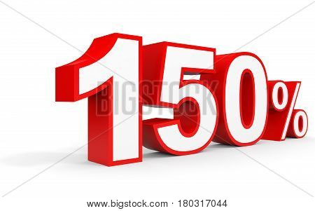 One Hundred And Fifty Percent. 150 %. 3D Illustration.