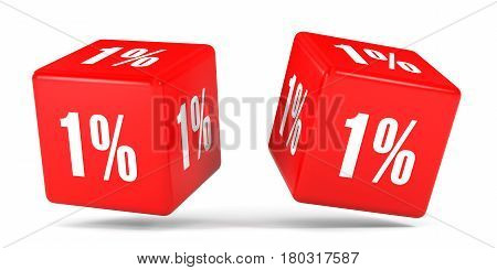 One Percent Off. Discount 1 %. Red Cubes.