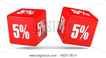Five Percent Off. Discount 5 %. Red Cubes.