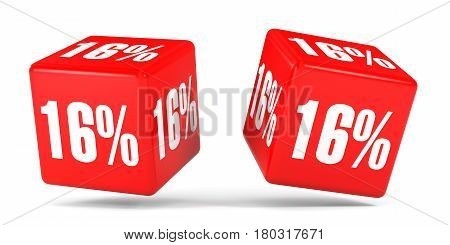 Sixteen Percent Off. Discount 16 %. Red Cubes.