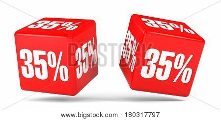 Thirty Five Percent Off. Discount 35 %. Red Cubes.
