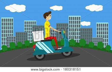 Delivery guy on a scooter. Vector. Flat style. Illustration of a young man working as a delivery guy.