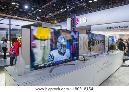 LAS VEGAS - JAN 08 : The LG booth at the CES show held in Las Vegas on January 08 2017 CES is the world's leading consumer-electronics show.