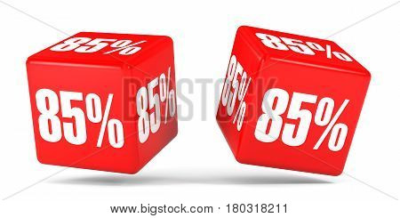 Eighty Five Percent Off. Discount 85 %. Red Cubes.