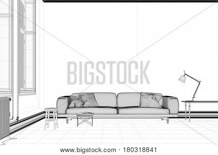 Living room CAD draft for interior planning (3D Rendering)