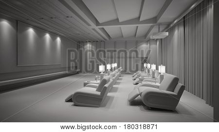 White home theater cinema with TV beamer and canvas (3D Rendering)