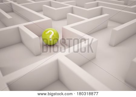Navigation or orientation concept in maze with yellow ball with question mark (3D Rendering)