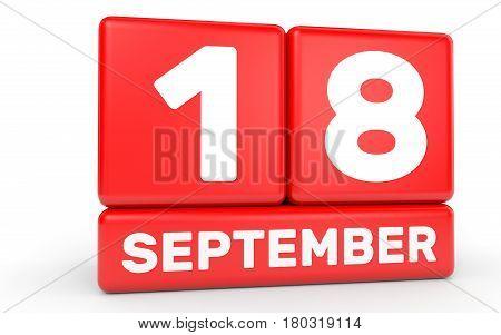 September 18. Calendar On White Background.