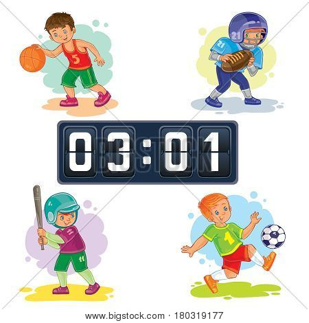 Set of icons of boys playing basketball, American football, baseball, soccer and scoreboard