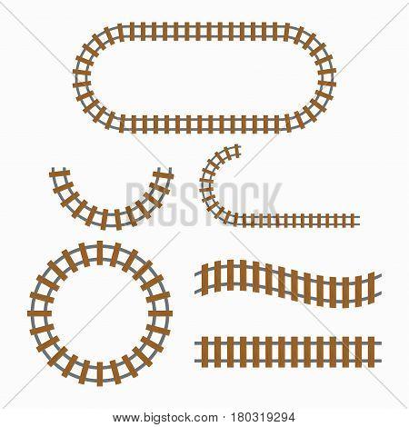 Railroad tracks construction elements railway set vector