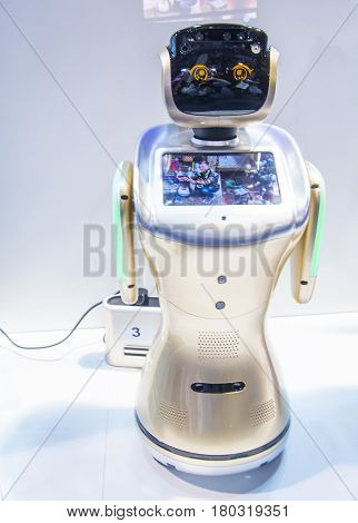 LAS VEGAS - JAN 08 : Robot at the CES Show in Las Vegas Navada on January 08 2017. CES is the world's leading consumer-electronics show