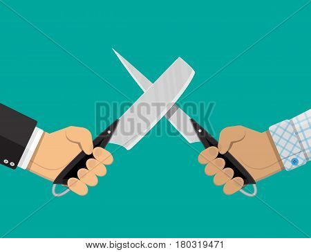 Businessmen hands with knives. Conflict, rivalry, competition, struggle, business war. Vector illustration in flat style