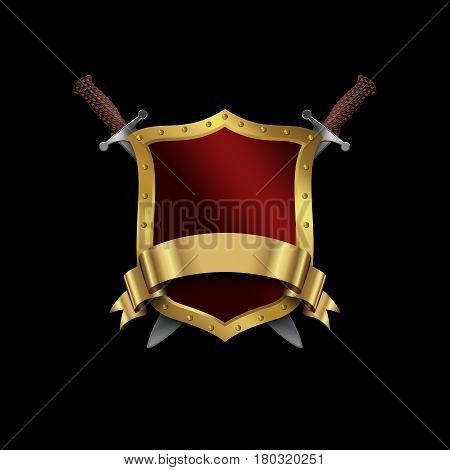 Golden riveted shield with two swords and golden ribbon on black background.
