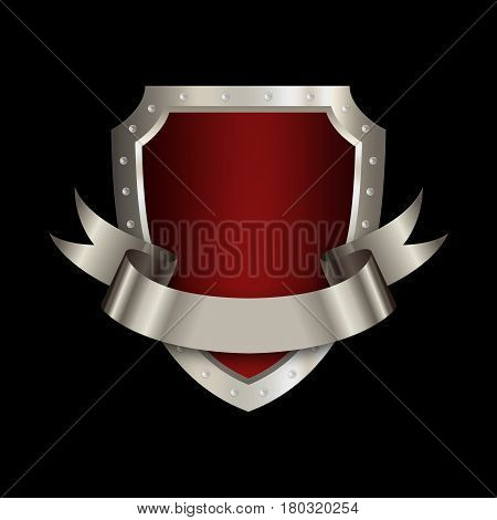 Medieval red shield with chrome riveted border and silver ribbon on black background.