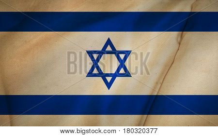 Vintage background with flag of Israel. Grunge style. 3D rendering.