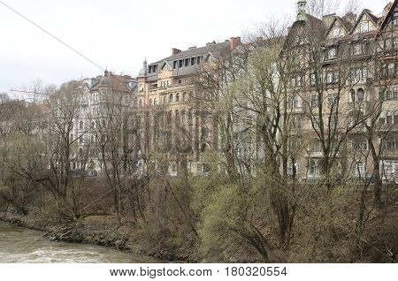 GRAZ, AUSTRIA - MARCH 20, 2017: Buildings at the riverbanks of the river Mur in Graz the capital of federal state of Styria Austria.