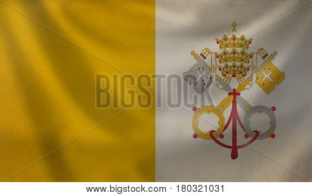Vintage background with flag of Vatican. Grunge style.