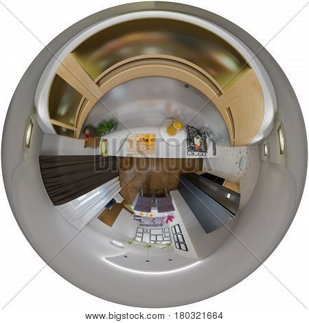 3d illustration spherical 360 degrees, seamless panorama of  living room and kitchen interior design. Modern studio apartment in the Scandinavian minimalist style. Tiny littel planet interior
