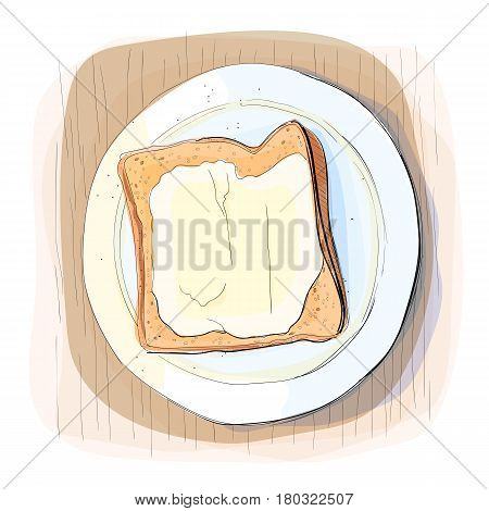 Color illustration of bread with butter on a plate