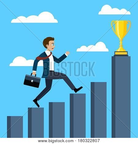 Businessman running on graphs going to the trophy.