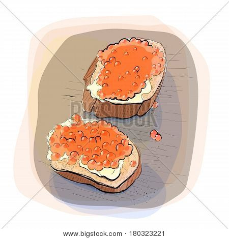 Color illustration of bread with butter and red caviar