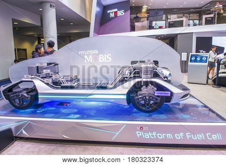 LAS VEGAS - JAN 08 : The Hyundai Mobis Concept car at the CES Show in Las Vegas Navada on January 08 2017. CES is the world's leading consumer-electronics show.