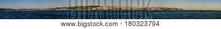 Panoramic landscape view of both Anatolian and European side of Istanbul city