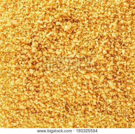 Breadcrumbs texture. Background. abstract background of golden breadcrumbs. Top view.