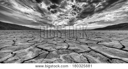 Desert Clark Dry Lakebed At Sunrise In Anza Borrego