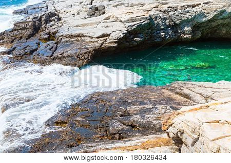 Giola natural sea water pool located on Thassos island, Greece