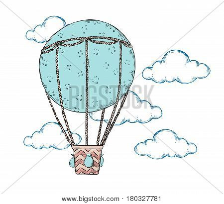 Hand Drawn Vector Illustration - Hot Air Balloon In The Sky. Perfect For Prints, Posters, Invitation