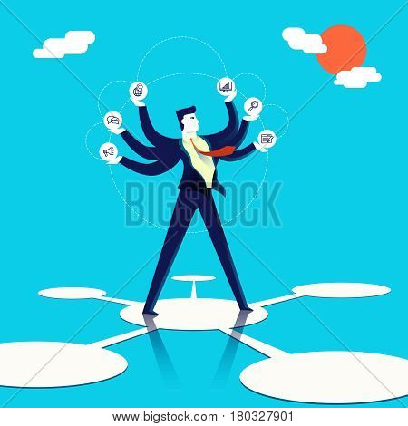 Multitasking Businessman Concept Illustration Art