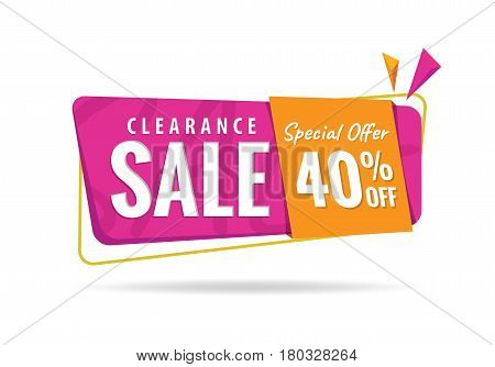 Vol. 2 Clearance Sale Pink Orange 40 Percent Heading Design For Banner Or Poster. Sale And Discounts