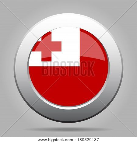 National flag of Tonga. Shiny metal gray round button with shadow.