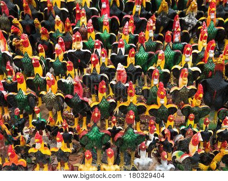 Rooster figurines at Wat Khai Bang Kung in Thailand. The legend is that Thai Prince Naresuan bet with a Burmese prince that Ayutthaya would be freed from Burmese rule if Naresuan's rooster emerged victorious in the fight which it did.