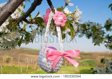 beautiful knitted small basket for Easter outdoor