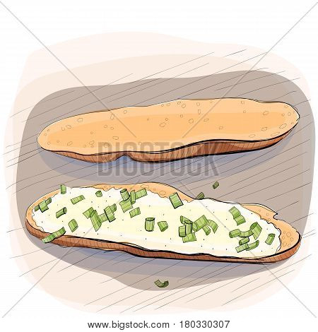 Color illustration of bread with butter and pieces of green onion