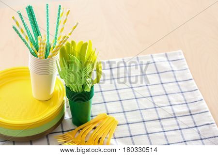 Plastic ware on table outdoors