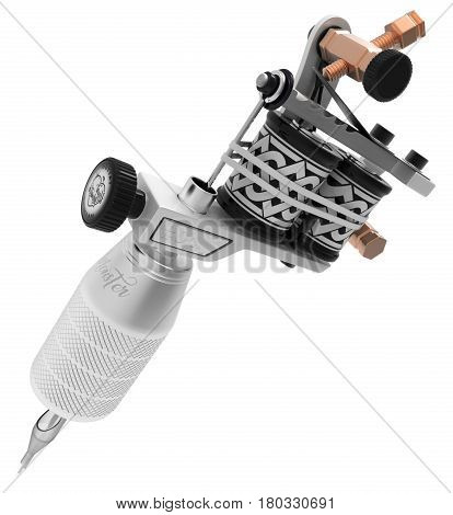 Metallic silver tattoo machine with ornament and big grey grip. 3D illustration