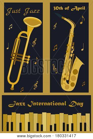 Three banners with different musical instruments: piano, trumpet and saxophone for Jazz International Day